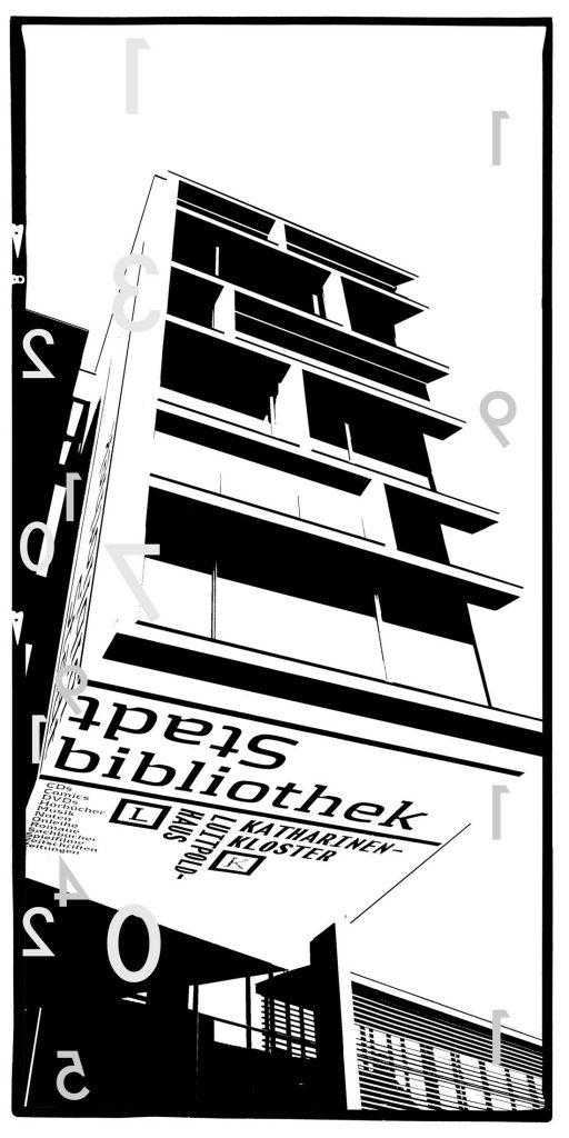 Michael Streissl, Fotograf, Künstler, Deutschland, Kunst, abstrakte Kunst, UV-Druck, Alu Dibond, zeitgenösische Kunst, Reduzierung auf das Wesentliche, Fotografie, Nürnberg, Altstadt, Altstadtfreunde, Stadtbibliothek, Neubau, Franken, Katharinenkloster